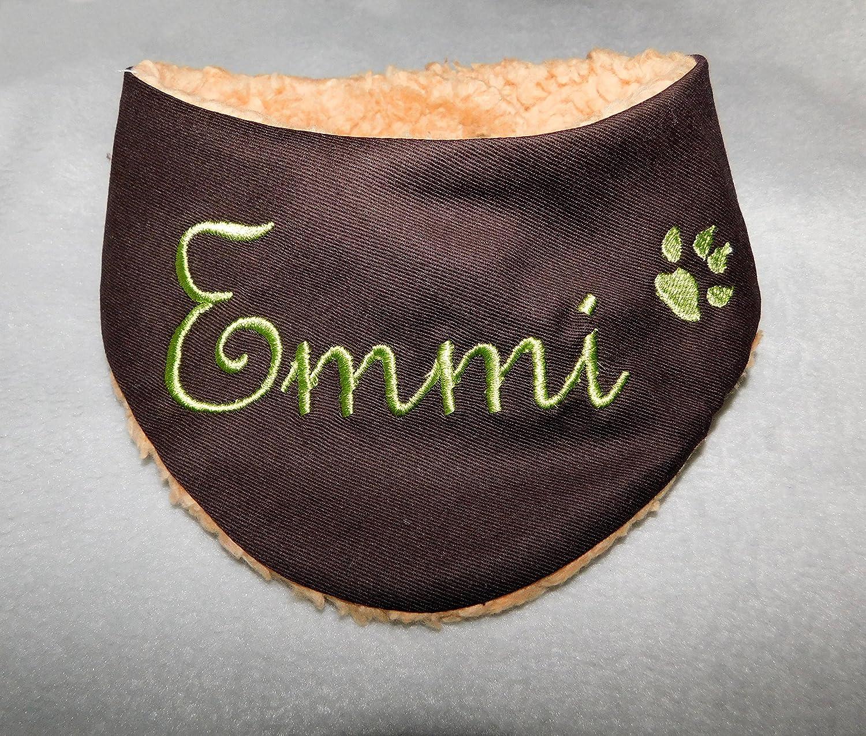 LunaChild Hundehalstuch mit Namen braun Jeans Größe L WUNSCHNAME Wendetuch Halstuch Hund Tuch Name Hundehalstuch