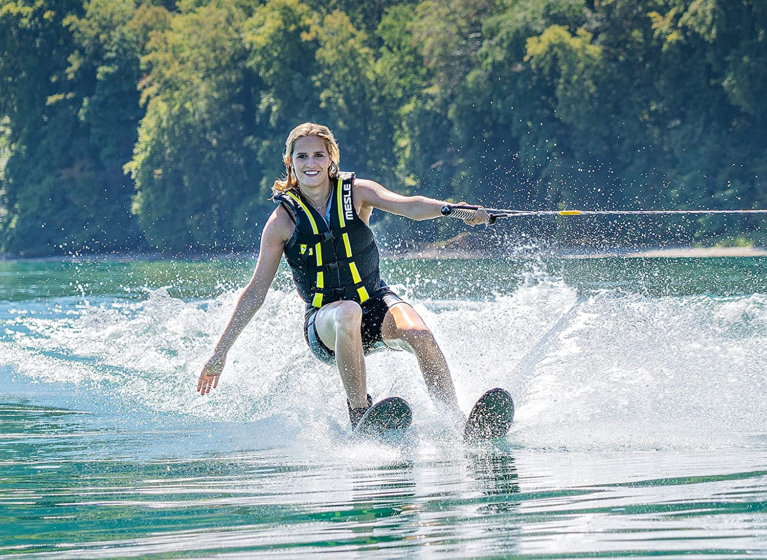 MESLE Combo-Ski Package XPlore 157 cm with Vest Sportsman Water-Ski for Youths and Adults Rope Set lime