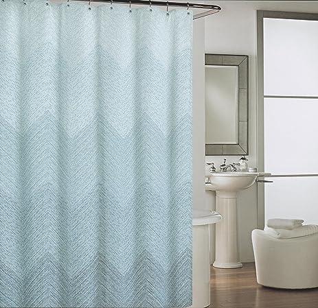Cynthia Rowley Mosaic Dots Chevron Blue White Fabric Shower Curtain Waves