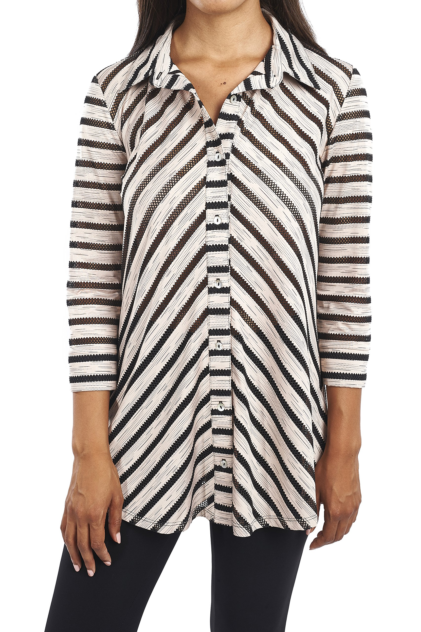 Joseph Ribkoff Button Front Striped Tunic Style 163920 Size 18 by Joseph Ribkoff