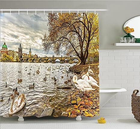 Apartamento Decor cortina de ducha Set por Ambesonne, Praga puente de Carlos y Old Town