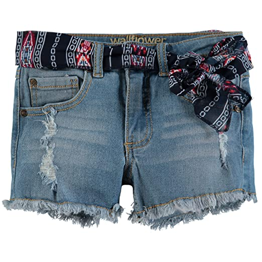 0e43a3ec0d Amazon.com: WallFlower Girls' Denim Shorts (7, Belted Light Denim ...