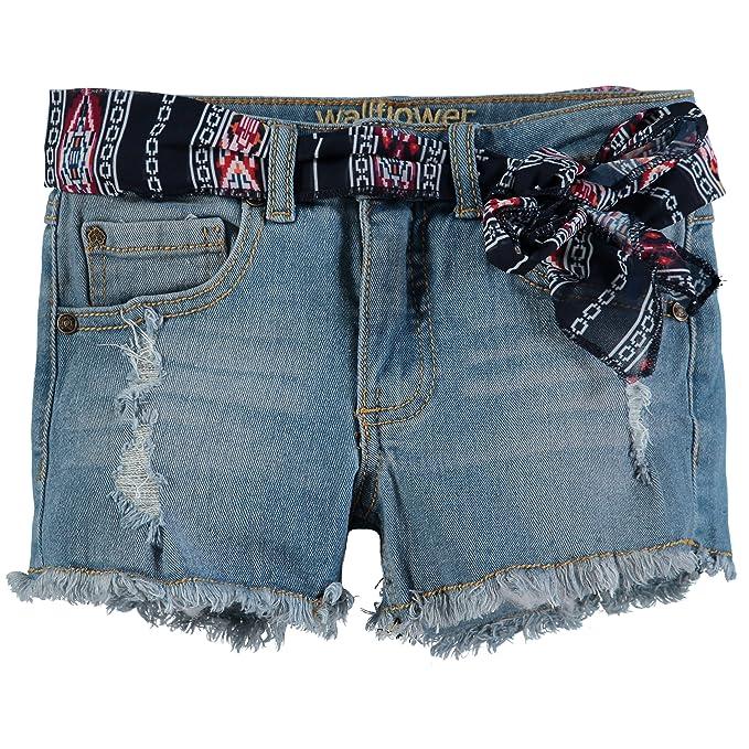 1e6e736fa7 Wallflower Girls' Denim Shorts (7, Belted Light Denim): Amazon.ca ...