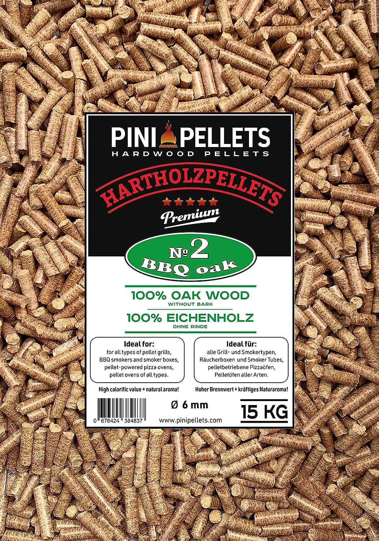 PINI Gillpellets 15 kg – pellets de Madera 100% de Roble para Asar, ahumar, también para Horno de Pizza con pellets