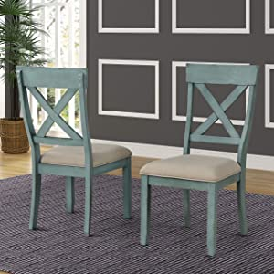 Roundhill Furniture Prato Two-Tone Wood Cross Back Upholstered Dining Chairs, Set of 2, Blue and Tan