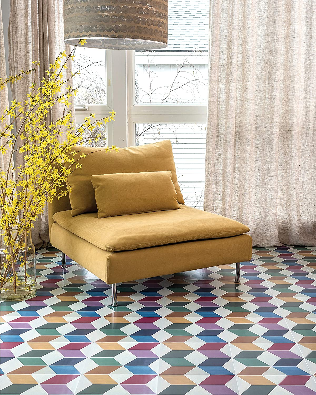 """Set of 6-12/""""x12/"""" Tiles Kittrich Mexican Con-Tact Brand Adorn FLRA-12N025-06 Adhesive Decorative and Removable Vinyl Floor"""