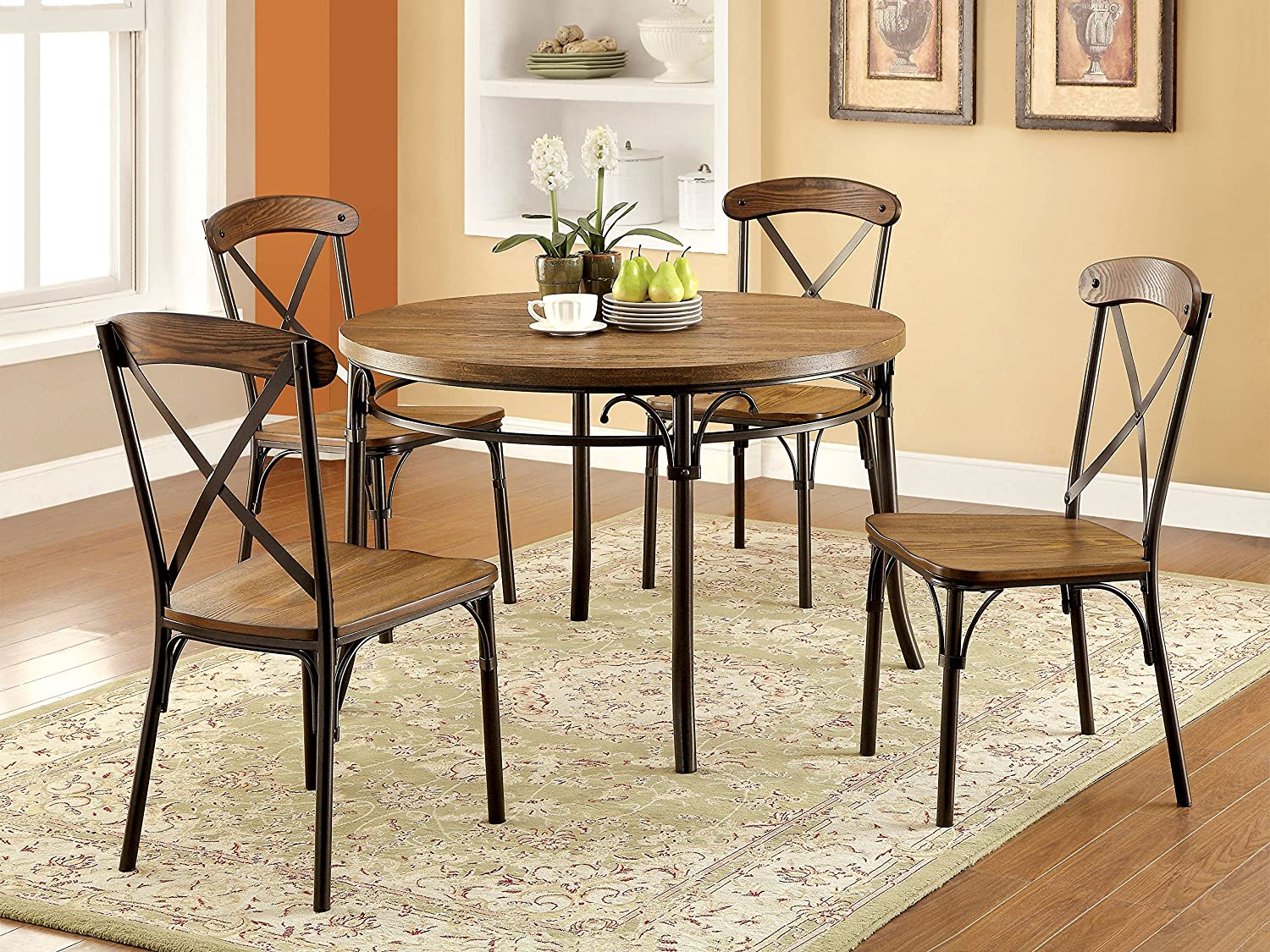 Amazon.com - Furniture of America Rizal Industrial Style Round Dining Chair Set of 2 - Chairs & Amazon.com - Furniture of America Rizal Industrial Style Round ...