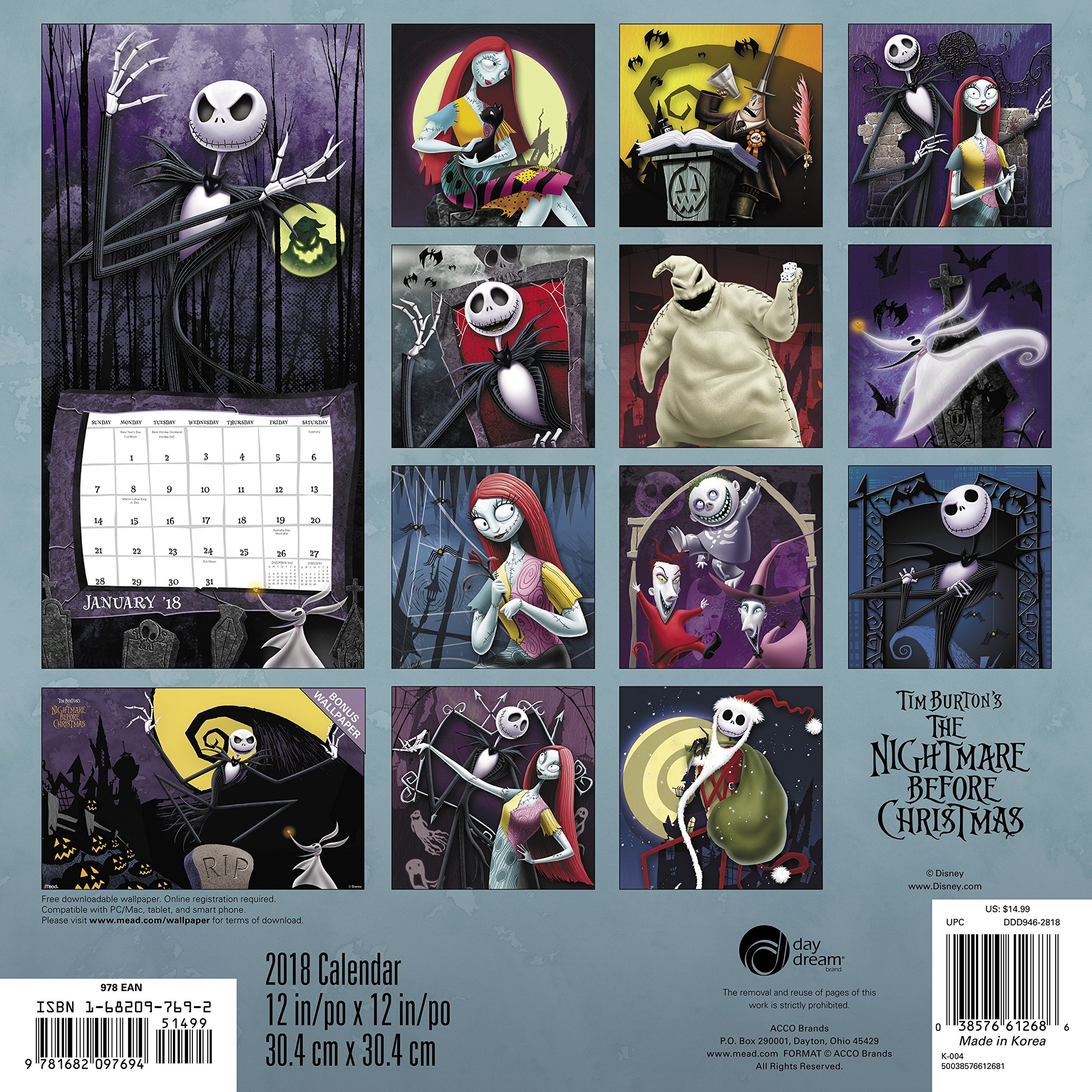 2018 the nightmare before christmas wall calendar day dream day dream 9781682097694 amazoncom books