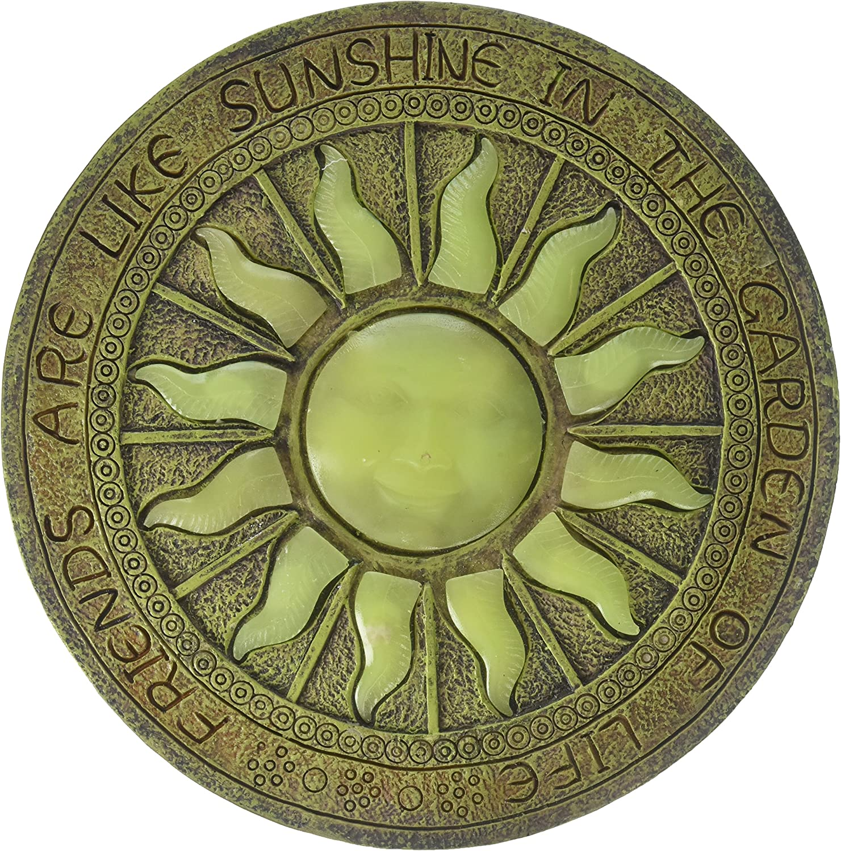 Plow & Hearth Solar Sun Glow-in-The-Dark Garden Stepping Stone - 10 Dia