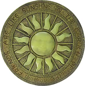 Plow & Hearth Solar Sun Glow-in-The-Dark Garden Stepping Stone - 10 Dia