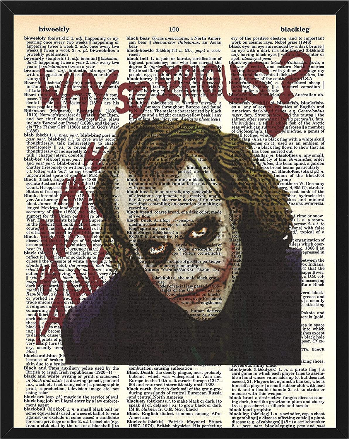 "Joker Wall Decor Joker""Why so serious"" Dictionary Art Print 8 x 10"