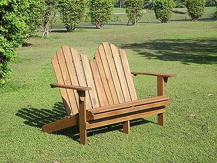 Pleasant Linon Catalan Teak Adirondack Double Bench Ncnpc Chair Design For Home Ncnpcorg