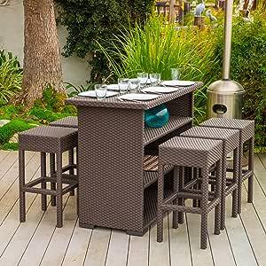 Home Loft Concept Redondo 7 Piece Outdoor Furniture Bar Set, Brown Wicker, Seats 6