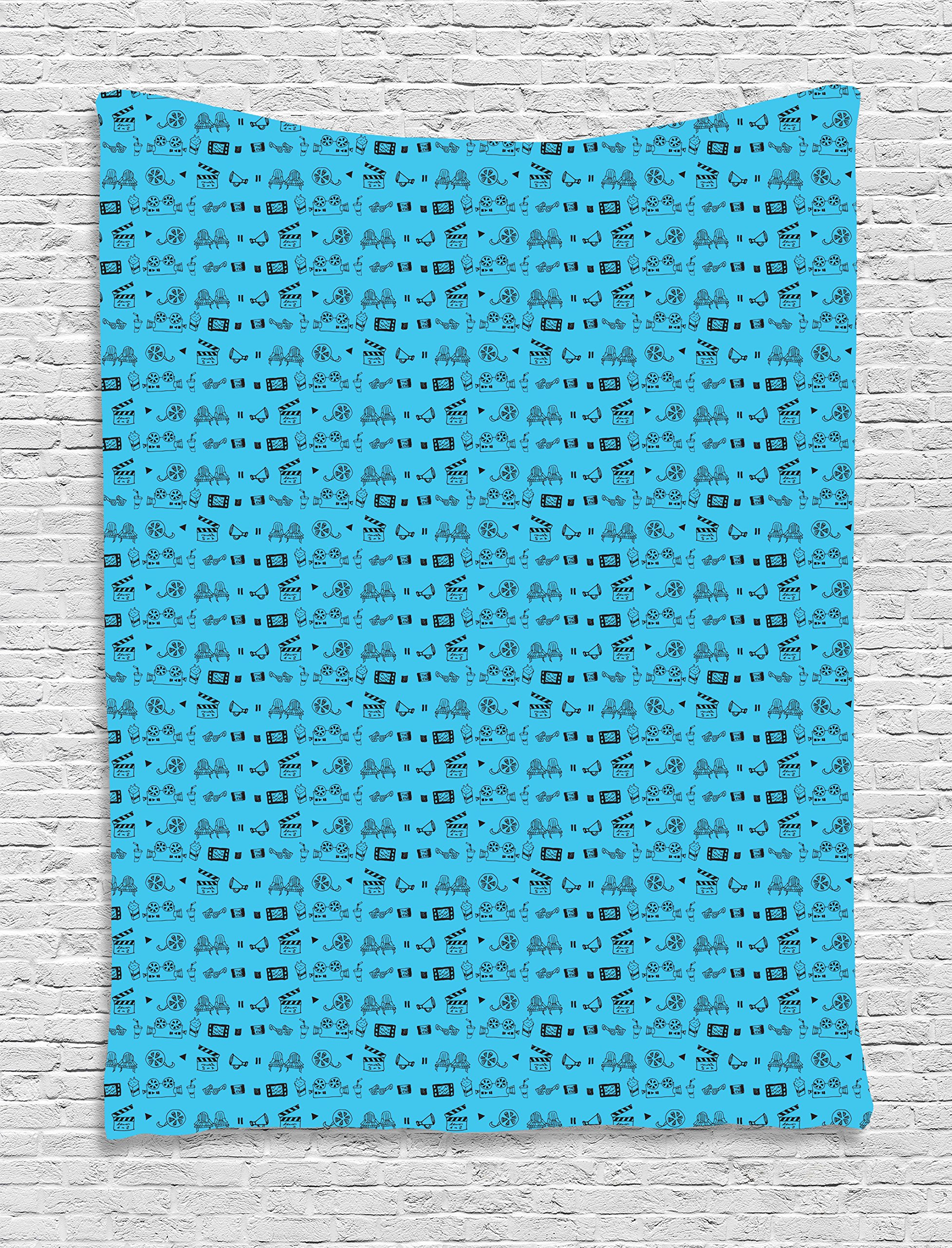 Ambesonne Blue and Black Tapestry, Doodle Style Cinema Movie Theater Icons Camera Seat Popcorn Clapper, Wall Hanging for Bedroom Living Room Dorm, 60 W X 80 L inches, Pale Blue and Black