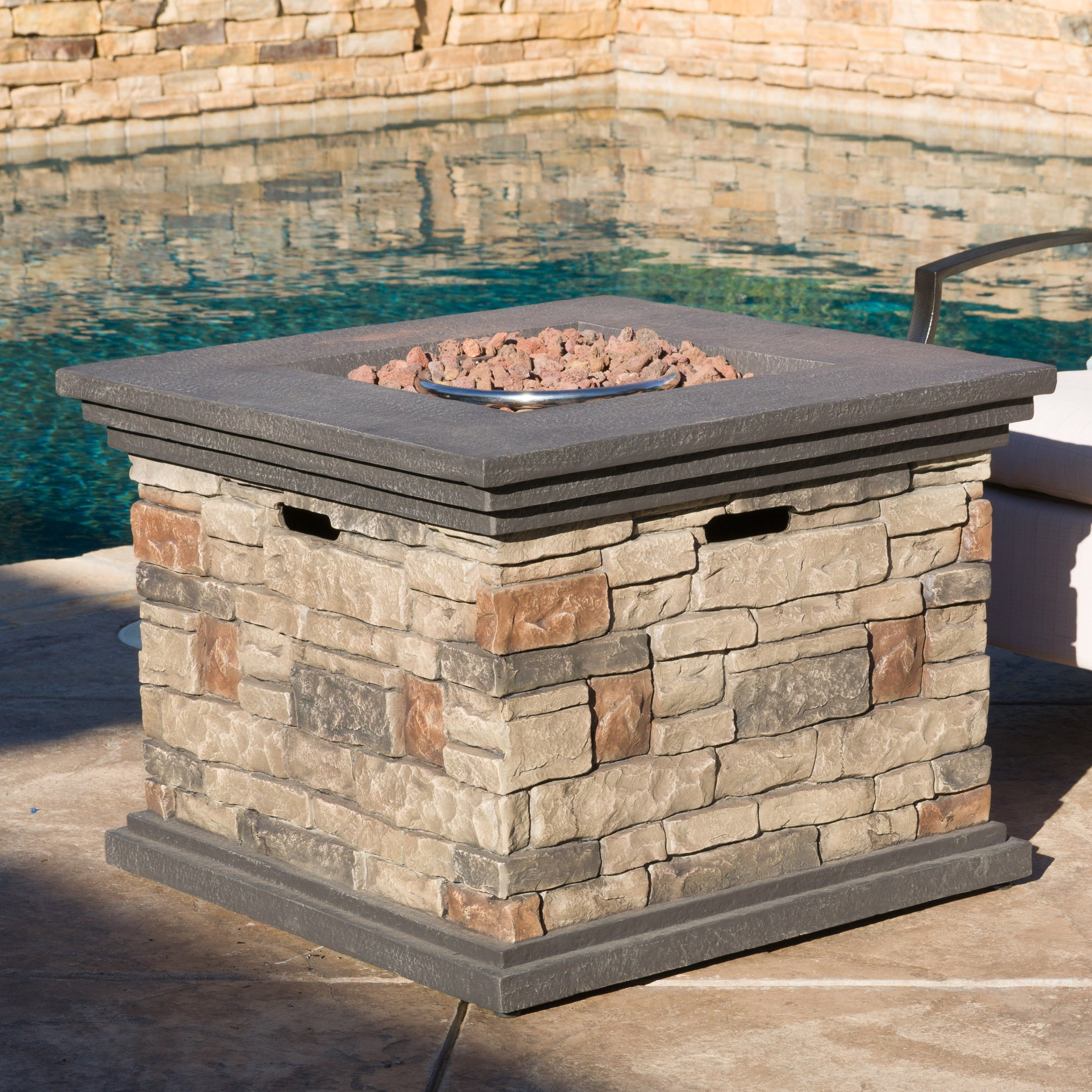 Christopher Knight Home 296587 | Crawford | Outdoor Square Propane Fire Pit with, Stone by Christopher Knight Home