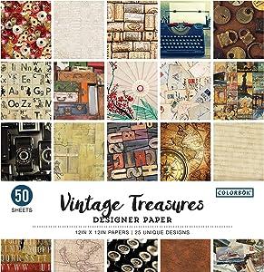 """Colorbok Designer Paper Pad, 12"""" x 12"""", Vintage Treasures"""