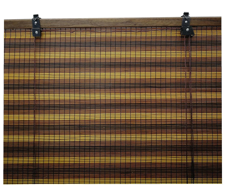 6 modelos 14 medidas de estores de bambú cortina de madera persiana enrollable (60 x 135 cm, Tricolor): Amazon.es: Hogar