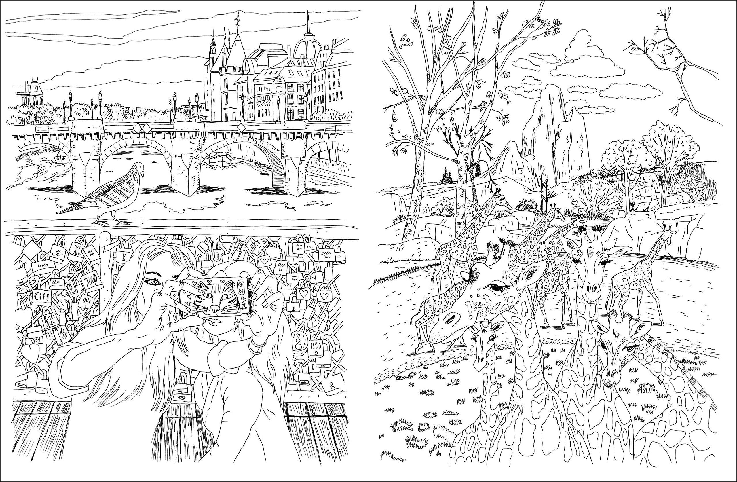 Amazon Cahier de coloriages Paris petit format Isy Ochoa Livres