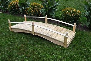 Backyard Crafts Amish-Made Weight-Bearing Pine 3' x 6' Acorn Garden Bridge, Walnut Stain