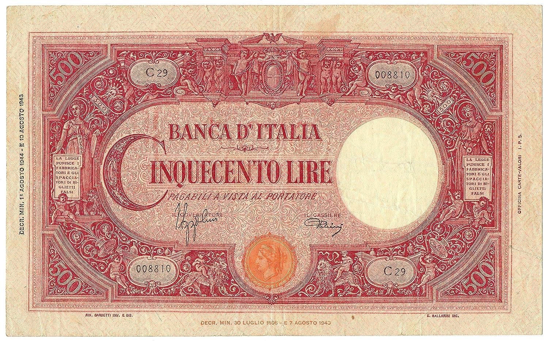 Cartamoneta  500 Lire BARBETTI Grande C Testina Retro BI RSI 01 08 1944 BB