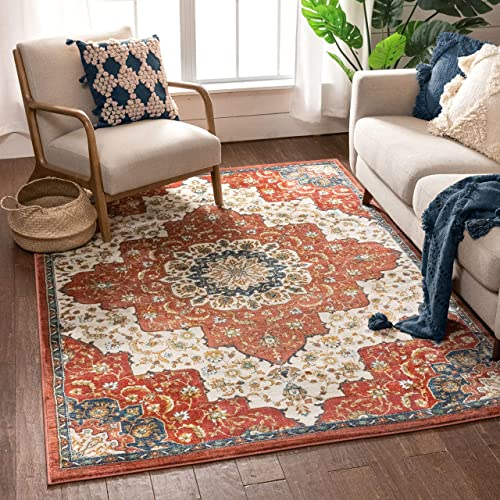 Well Woven Olivia Red Traditional Medallion Area Rug 5×7 5 3 x 7 3