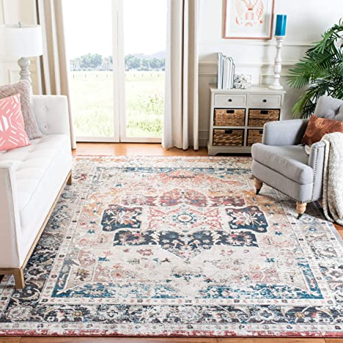 Safavieh CYL210A-5 Carlyle Collection CYL210A Ivory and Blue 5'3″ x 7'6″ Area Rug,