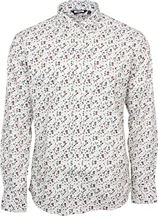 5a4935950c1 Relco Men s White Floral Longsleeve Button Down 100% Cotton Shirt XXX-Large