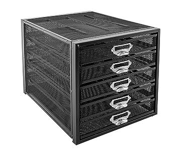 Osco M5T-BLK - Organizador de documentos de malla metálica, de 5 niveles