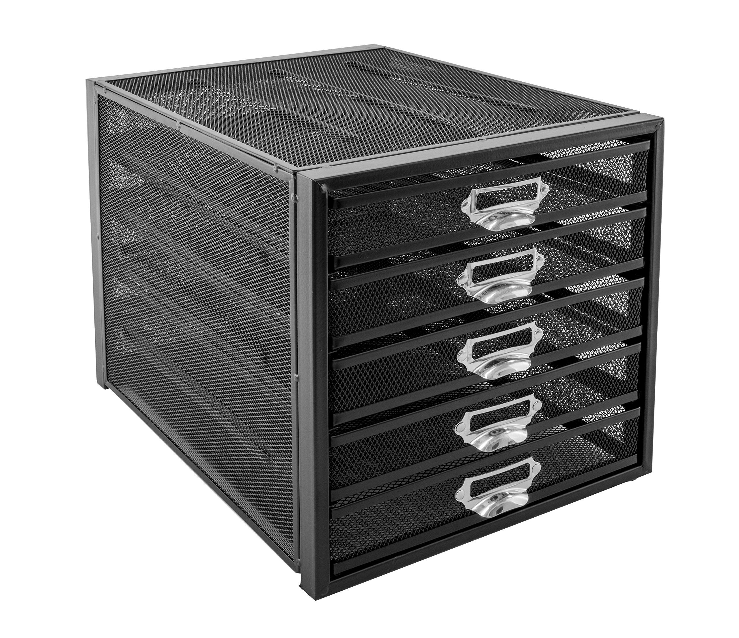 Osco M5T-BLK - Organizador de documentos de malla metálica, de 5 niveles product