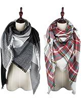 VIVIAN & VINCENT 2 Pack of Soft Classic Luxurious Blanket Tartan Square Scarf Wrap