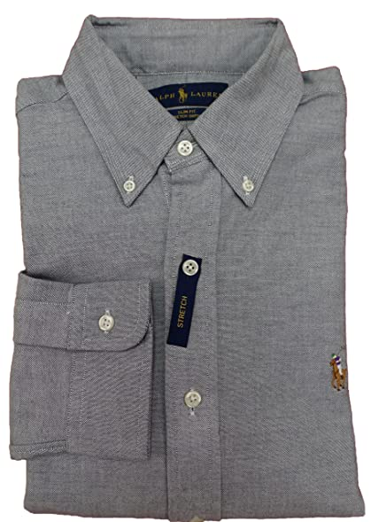 Polo Ralph Lauren Men\u0027s Long Sleeve Slim Fit Stretch Oxford Button Down  Shirt , GREY (
