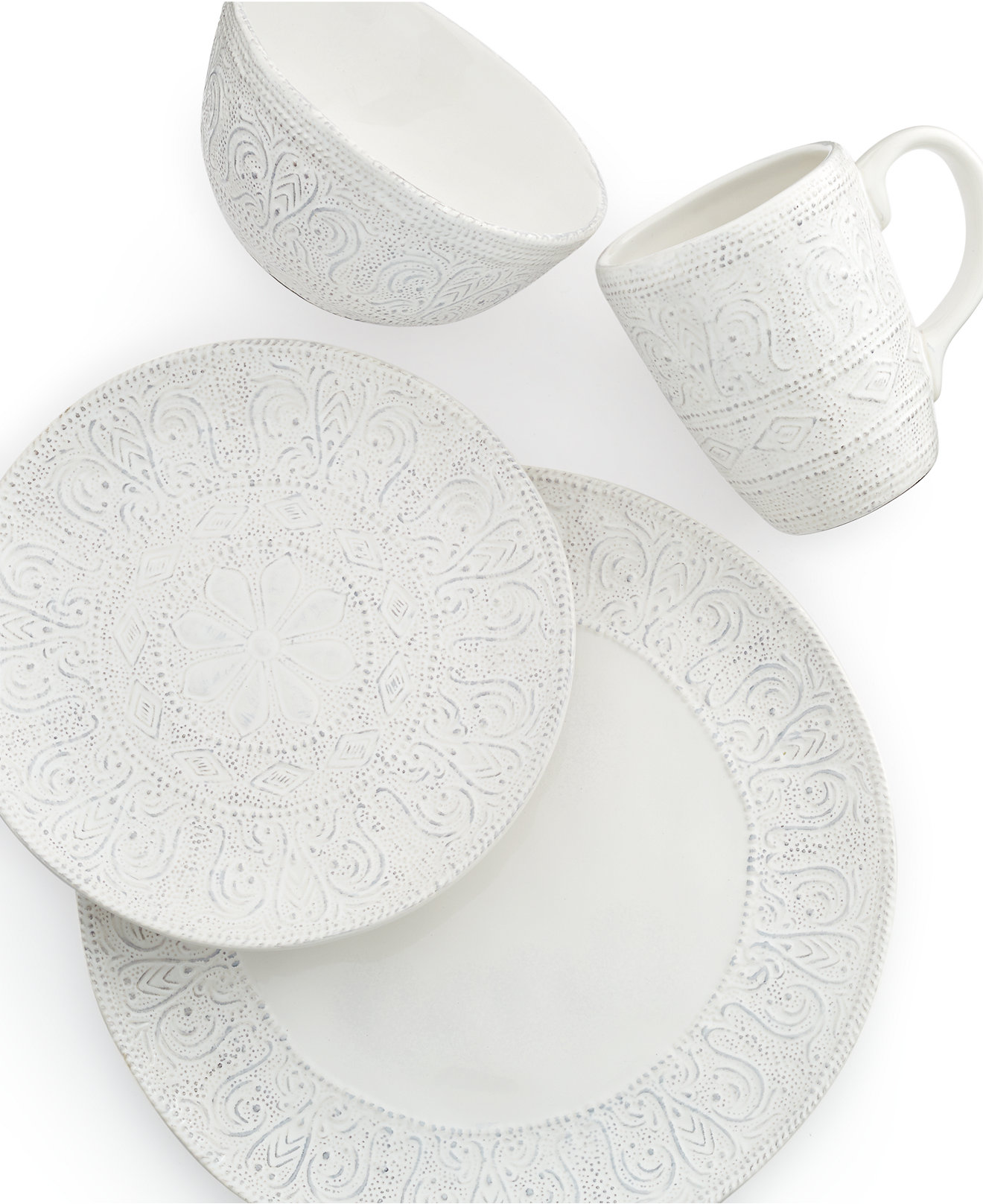 Maison Versailles Blanc Colette 4-Piece Place Setting - Dinnerware - Dining & Entertaining - Macy's