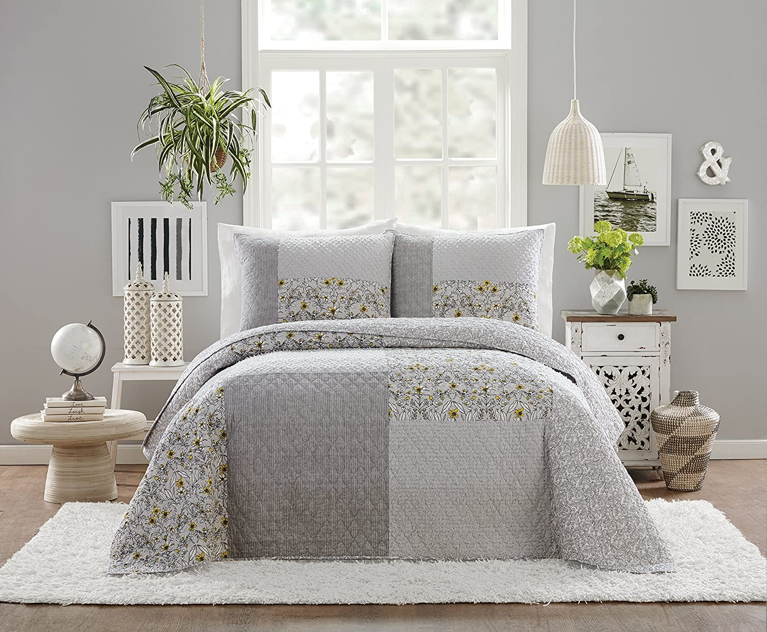 Jessica Simpson A035117GYNDE Quilt, Full Queen 88X90, Gray