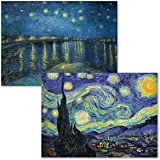 2 Pack - The Starry Night 1889 & Starry Night Over The Rhone by Vincent Van Gogh - Fine Art Poster Prints (Laminated, 18…