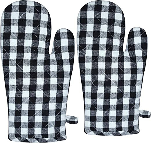 Raksha - 100% Cotton Oven Gloves (Pack of 2,Black and White Checked)