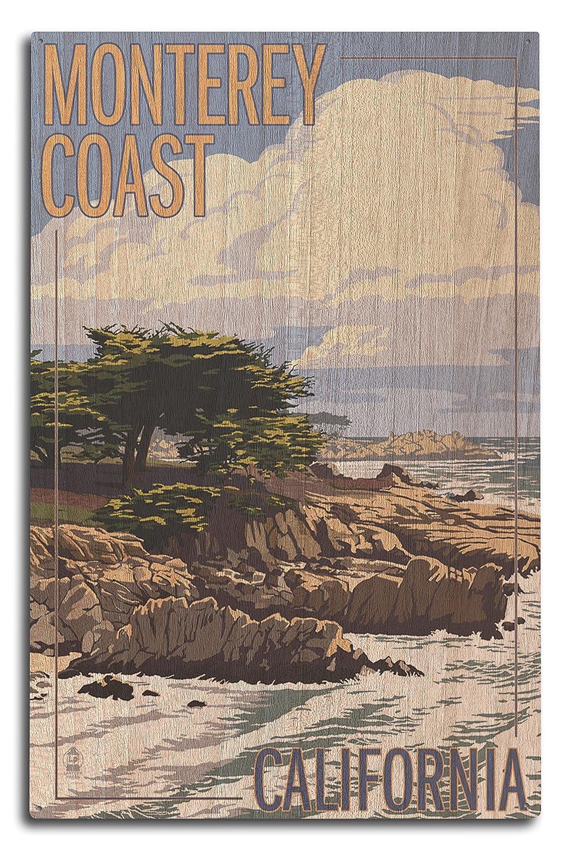 モントレー海岸、CAのビューCypress Trees 10 x 15 Wood Sign LANT-31168-10x15W B07367692D 10 x 15 Wood Sign
