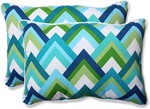 Pillow Perfect Outdoor Resort Peacock Over-Sized Rectangular Throw Pillow, Blue, Set of 2