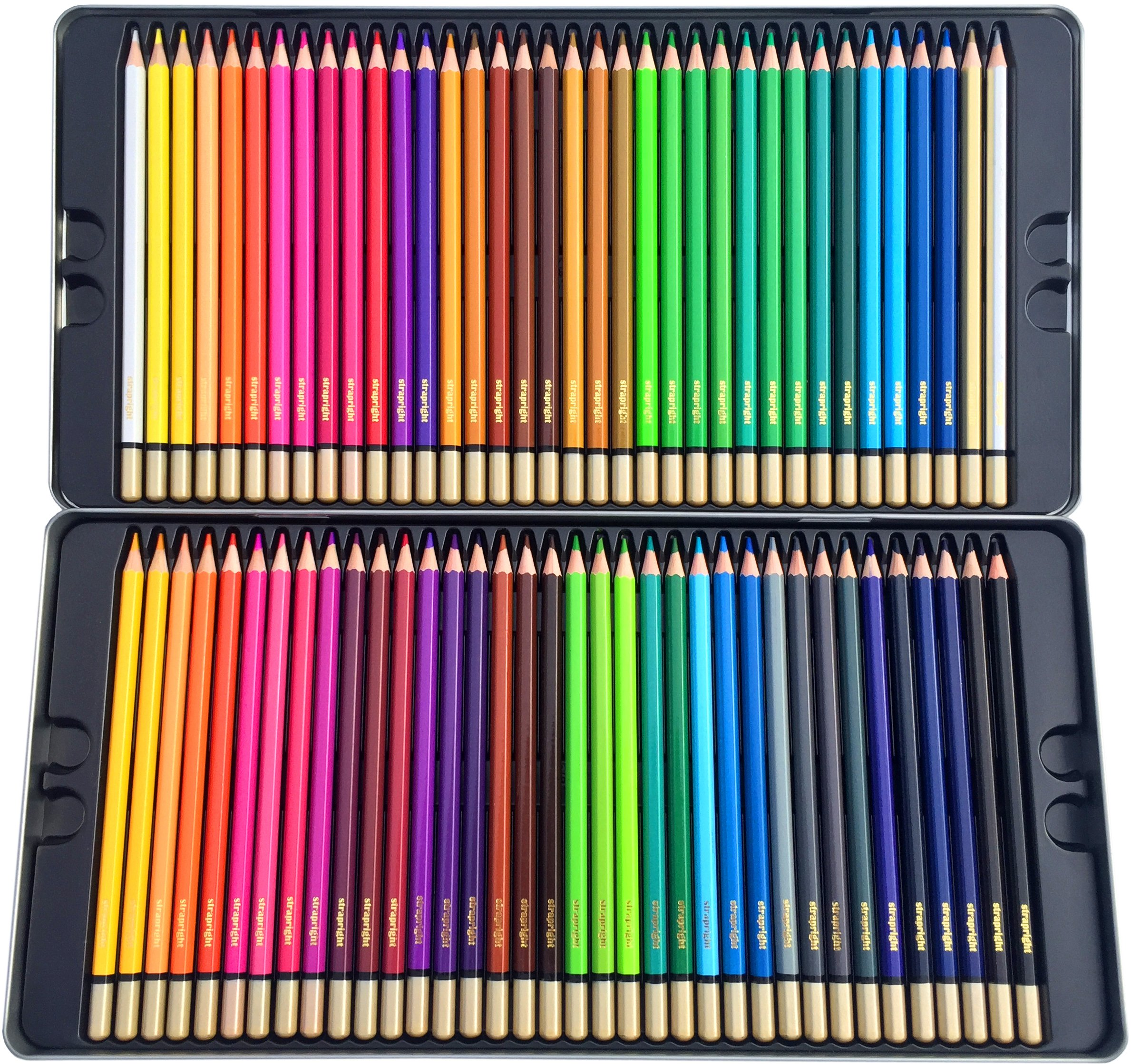 Deluxe Colored Pencils Kit -72 Bright Colors -Pack includes Case & Coloring eBook - Great Gift for Creative Children and Adults -Design, Draw, Blend, Smooth, and Sketch with these Pencils by Strapright