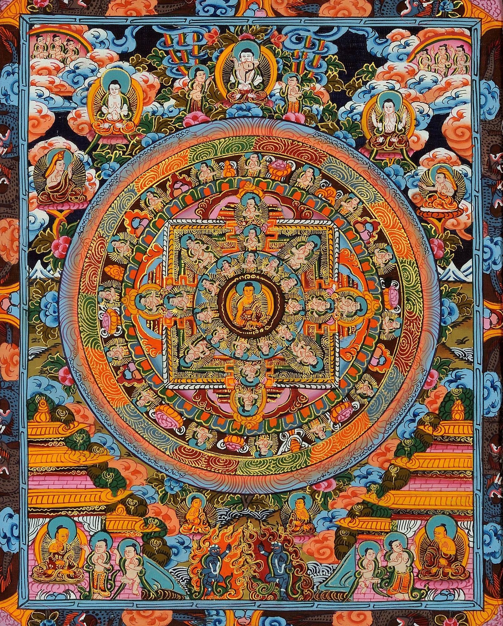 The Buddha Mandala -Tibetan Buddhist - Tibetan Thangka Painting by Exotic India (Image #1)