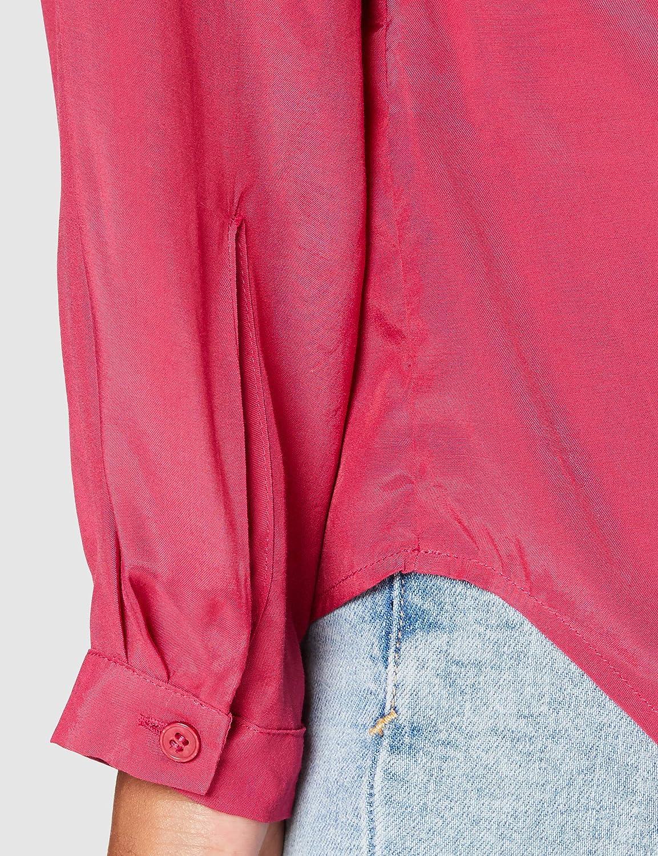 Silkesklistermärke dam blus – modeblus – unik – V-ringad – normal passform – lång ärm granit