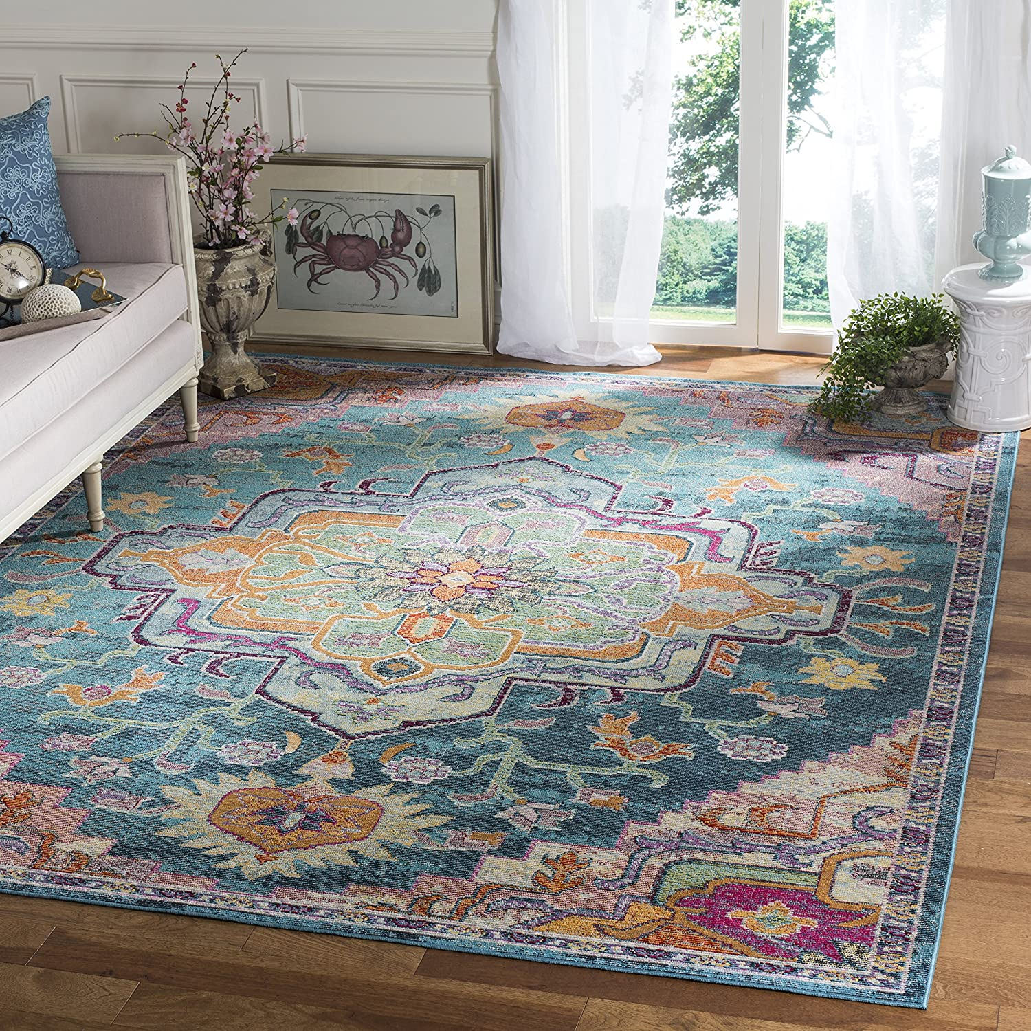 Safavieh Crystal Collection CRS501T Boho Chic Vintage Distressed Area Rug, 8' x 10', Teal/Rose