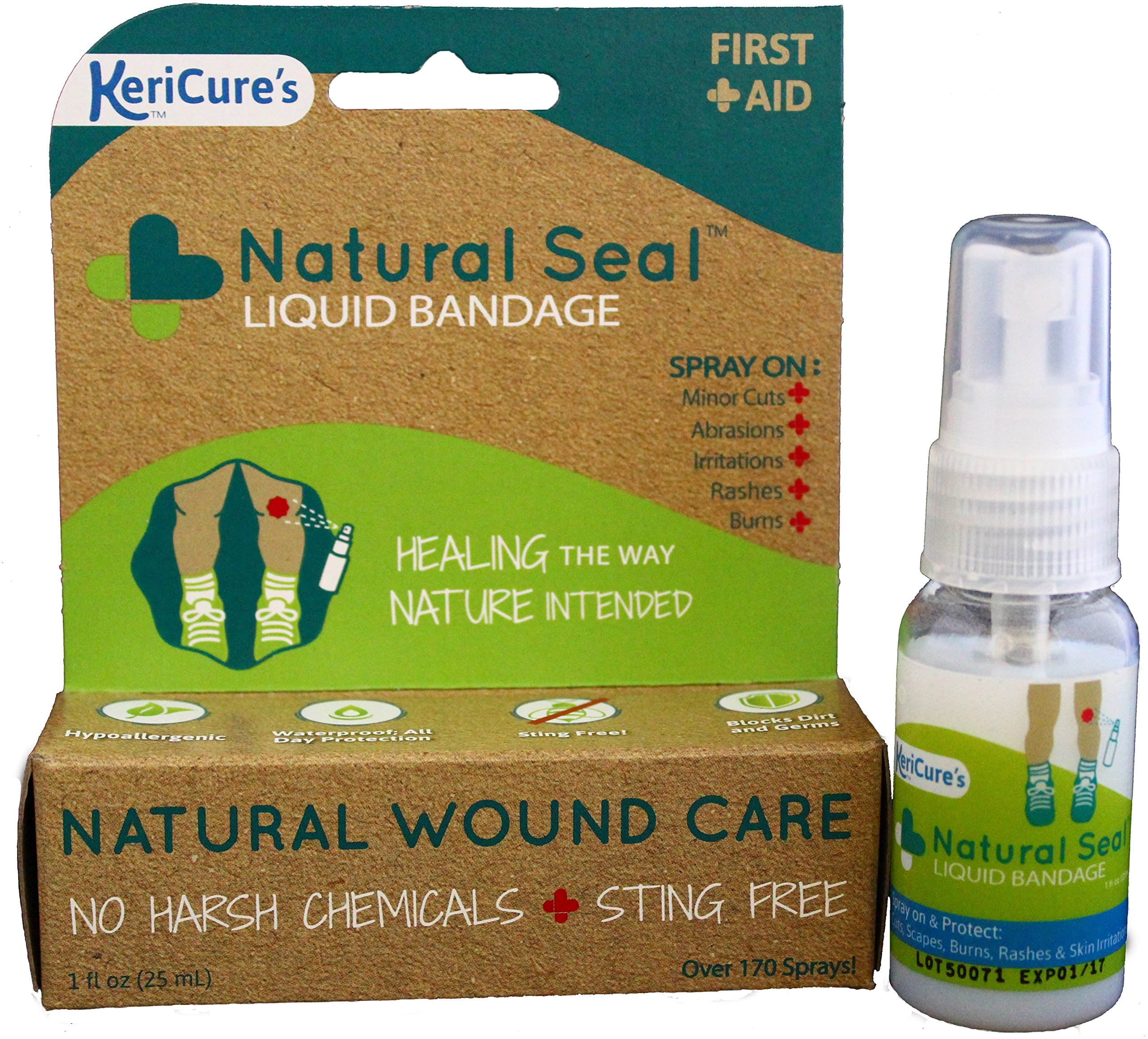 KeriCure's Natural Seal Invisible Liquid Bandage, 2 Pack, Soothe, Seal and Protect Small cuts, scrapes, rashes and More - NO Harsh Chemicals - Sting Free - Moisturizing Spray on Bandage by KeriCure