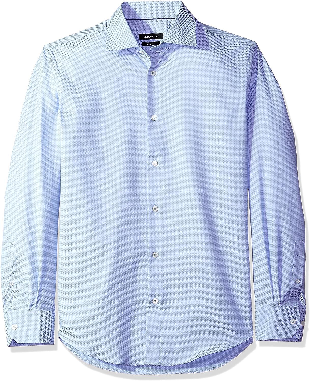 Bugatchi Mens Fitted Tonal Jacquard Spread Collar Dress Shirt
