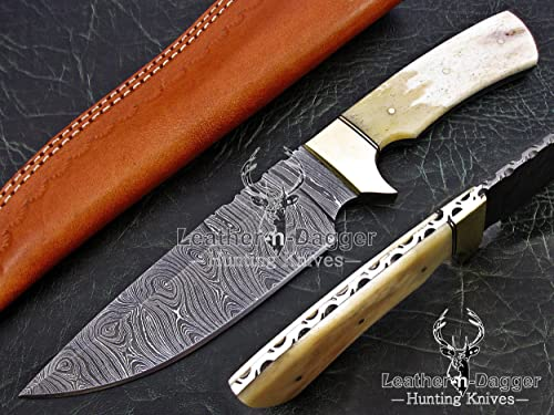 Leather-n-Dagger Professional Custom Handmade Damascus Steel Model-Year 2015 Bowie 11 Hunting Knife Great Gift LD195