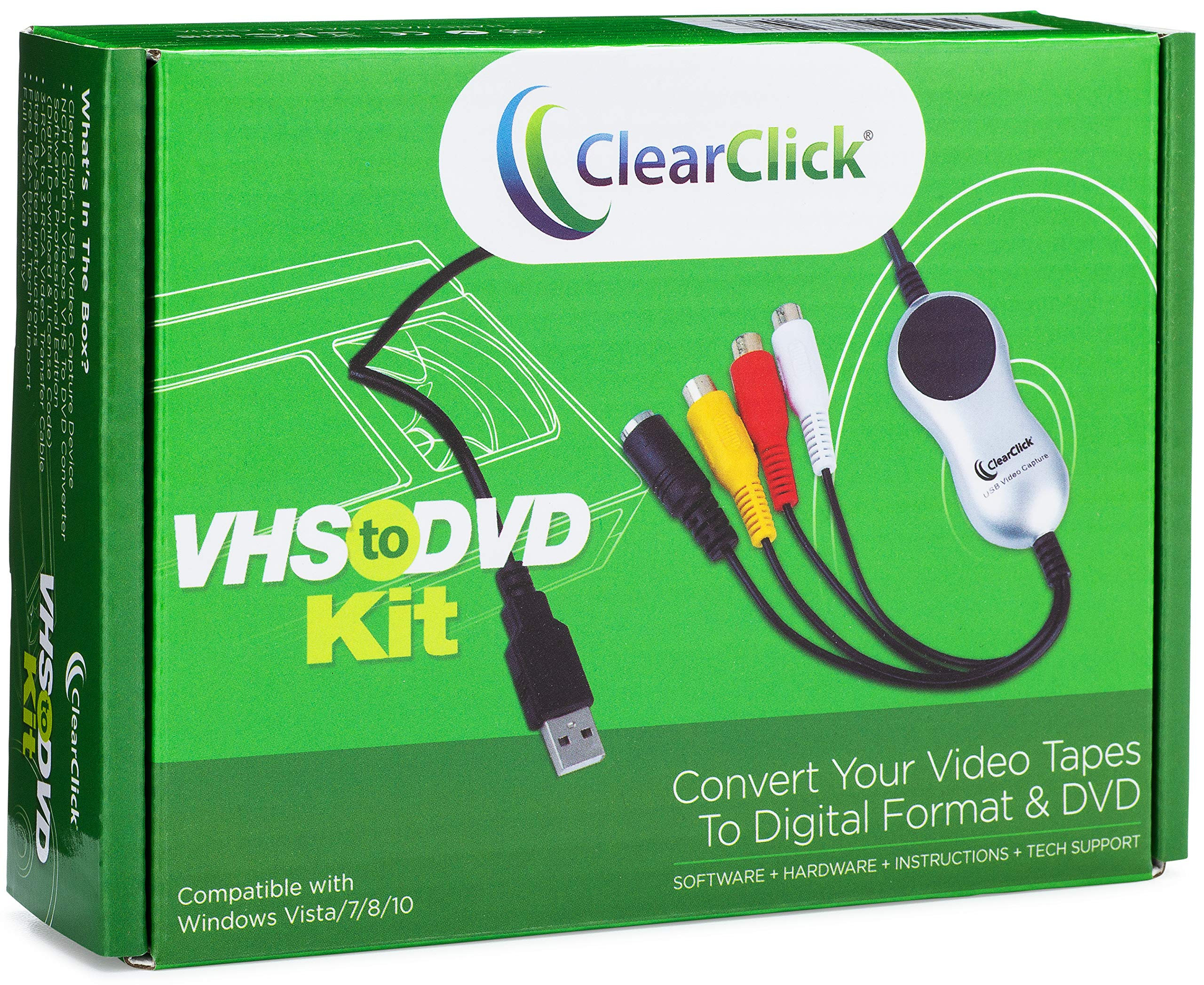 ClearClick VHS to DVD Kit for PC - Software & USB Video Capture Device - Capture from VCR, VHS, Hi8, Camcorders, Gaming Systems