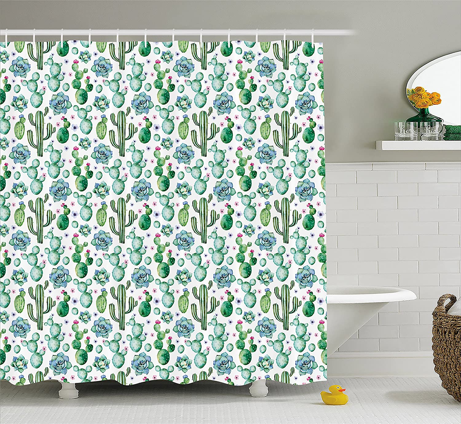 Fabric Bathroom Decor Set with Hooks Coral Green Ambesonne Coral Shower Curtain 70 inches Blossoming Tree Branch Japanese Cherry Sakura Fresh Spring Garden Romantic