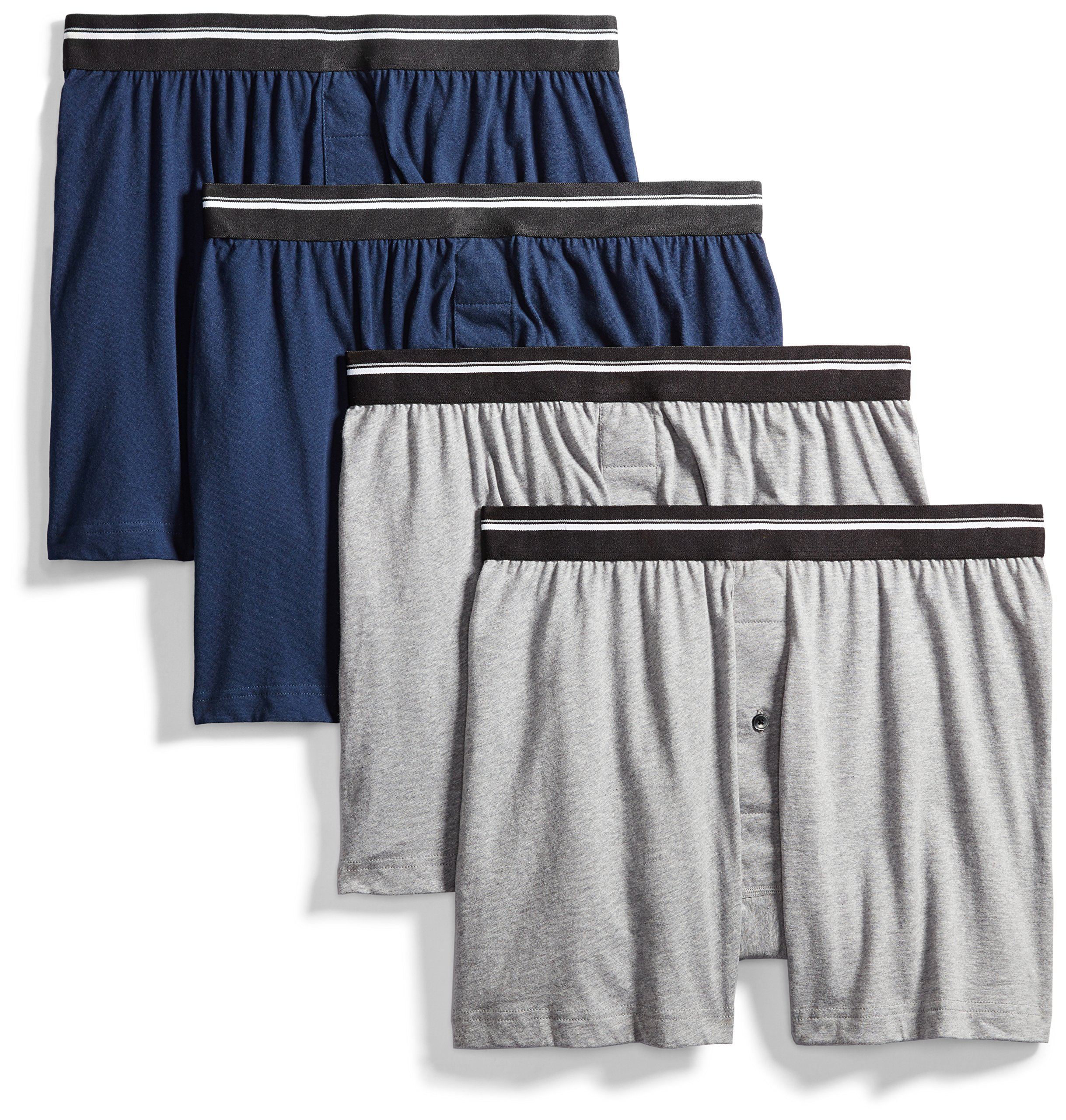 Goodthreads Men's 4-Pack Tag-Free Knit Boxers, Heather Grey/Dark Navy, Medium