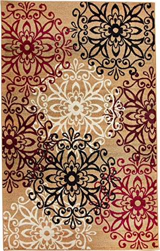 Superior 8mm Pile Height with Jute Backing, Chic Contemporary Floral Medallion Pattern, Anti-Static, Water-Repellent Rugs, 5 x 8 Rug, Gold