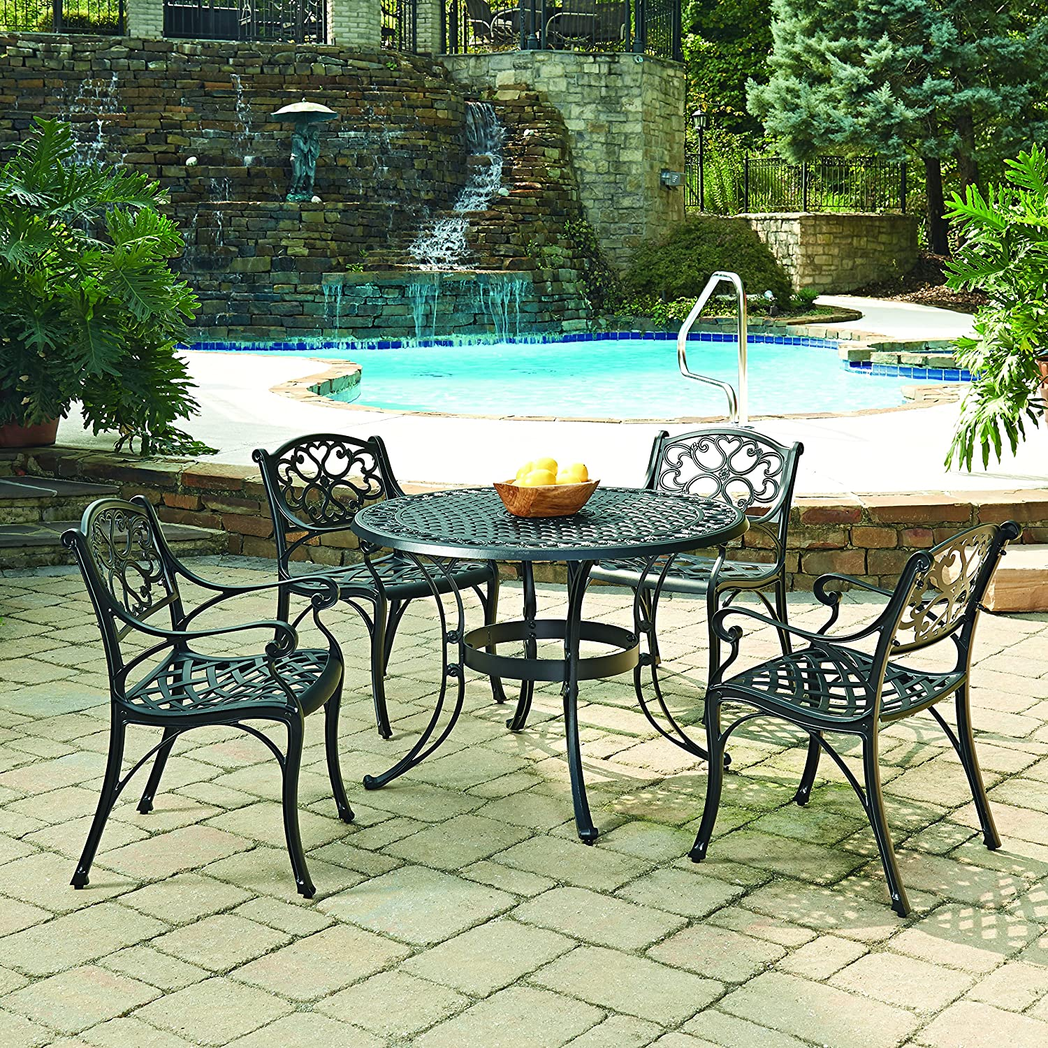Outdoor Dining Set Round Table.Biscayne Black 5 Piece Outdoor Dining Set With 4 Arm Chairs By Home Styles
