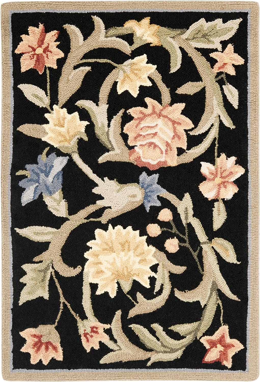 Safavieh Chelsea Collection HK248B Hand-Hooked Black Premium Wool Area Rug (2'6